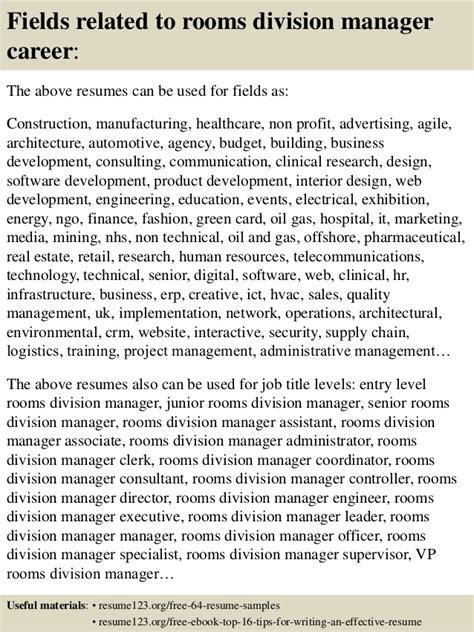 rooms division manager top 8 rooms division manager resume sles