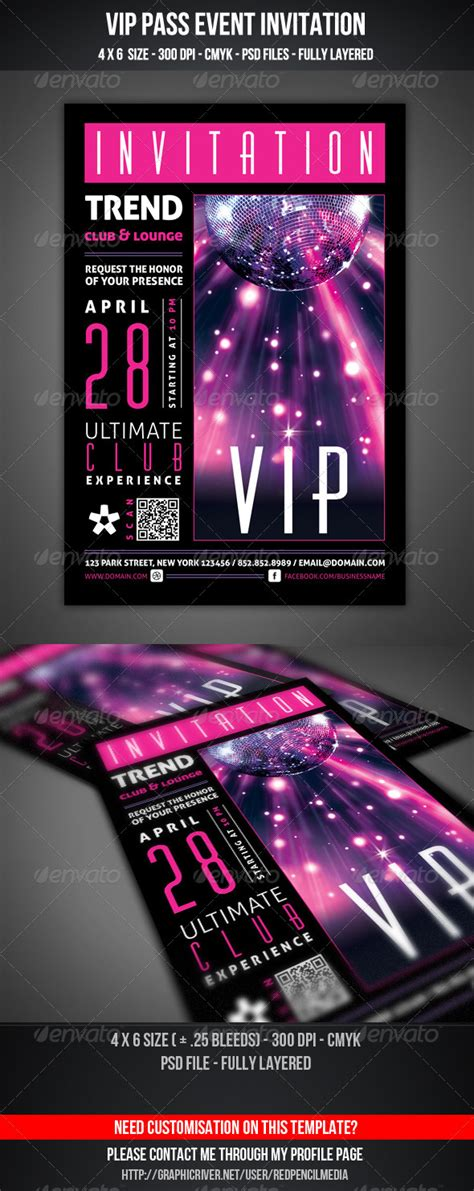 Vip Club Event Invitation By Redpencilmedia Graphicriver Vip Birthday Invitations Templates Free