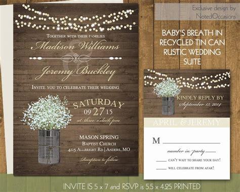 rustic wedding invitation printable set country wedding rustic wedding invitations in gold with tin cans and