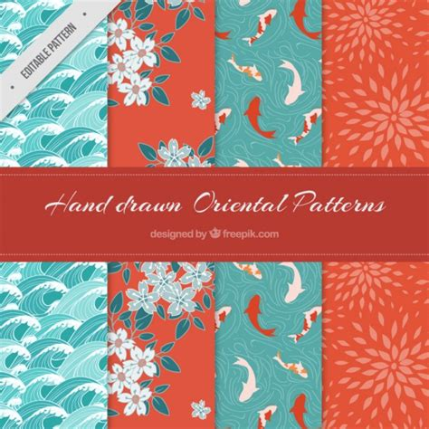 oriental pattern vector free download set of beautiful hand drawn oriental patterns vector
