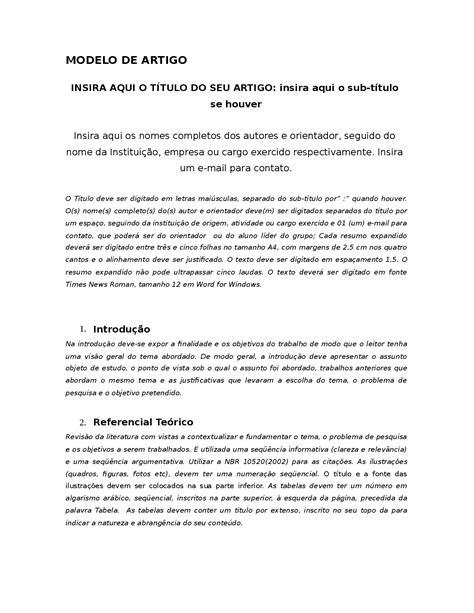 Modelo de Artigo Científico - Este arquivo é um modelo de
