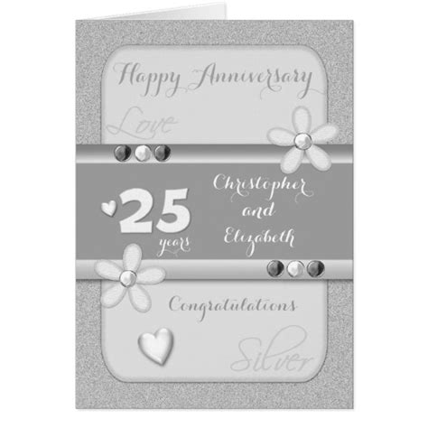 Personalised Wedding Anniversary Cards Uk by Personalised 25th Silver Wedding Anniversary Card Zazzle