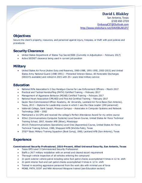 Army National Guard Sle Resume by Blakley Security Officer Resume 2017