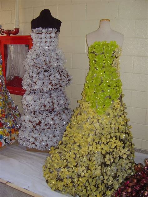 Outens Plight To Make Recycling Fashionable by White Dress Made With Paper Cups Green Made From Plastic