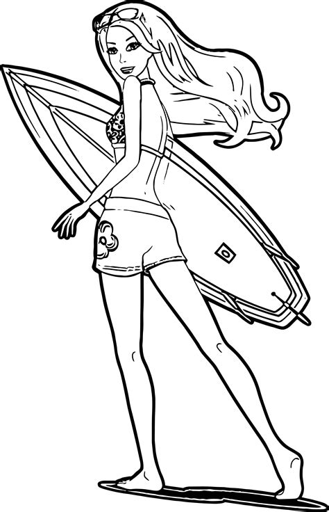 barbie run surfing coloring page wecoloringpagecom