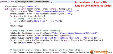 java program for reverse pattern in java how to read a file line by line in reverse order
