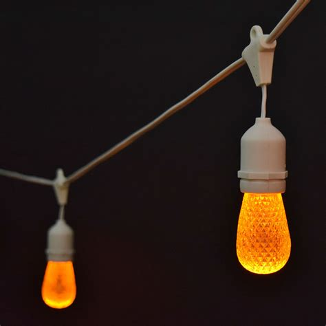 Orange Faceted Led Commercial String Lights 21 White Cord Industrial String Lights