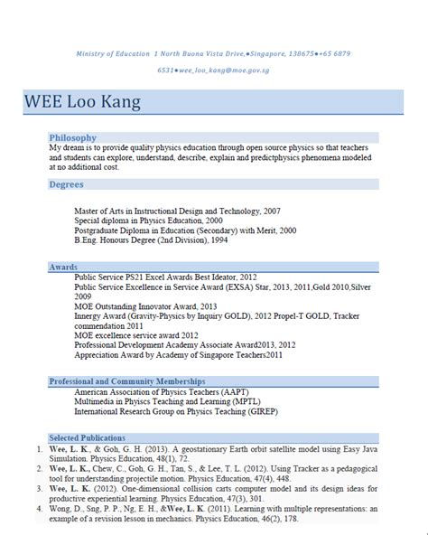 physics cv template open source physics singapore curriculum vitae