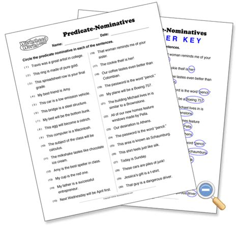 colorful bekitcha predicate nominative and adjective worksheets chuck low