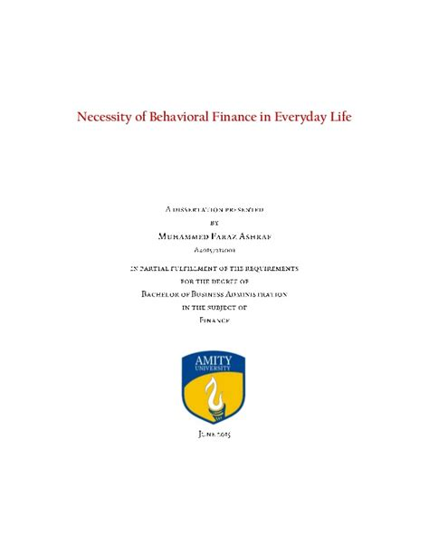 Behavioral Finance Mba by Dissertation Necessity For Behavioral Finance In