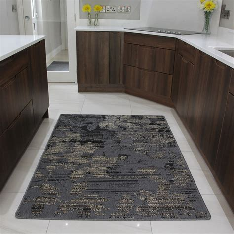 Brown Kitchen Rugs Brown Rubber Backed Modern Kitchen Rug Flat Weave Easy