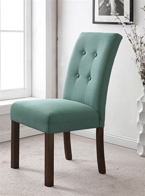 tufted skirted parsons chair 4 button tufted aqua textured parson chair set of 2