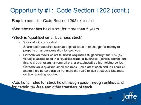 section 1202 stock business law order january 20 2014 tax planning