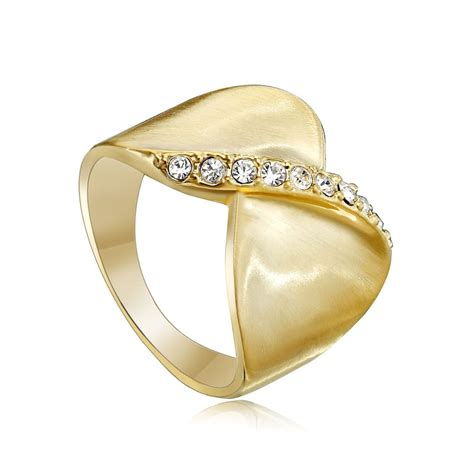 wide band rings rhinestone band ring gold plated