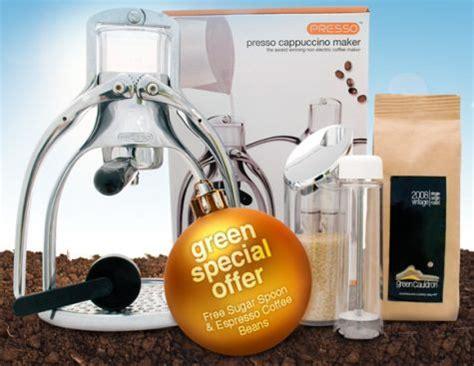Green Presso green gift giveaway presso manual espresso machine