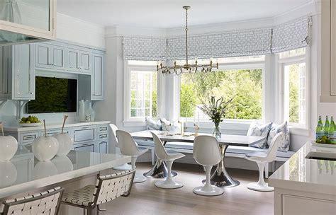 blue dining nook transitional kitchen