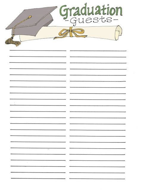 graduation checklist template graduation guest book free printables the flanders