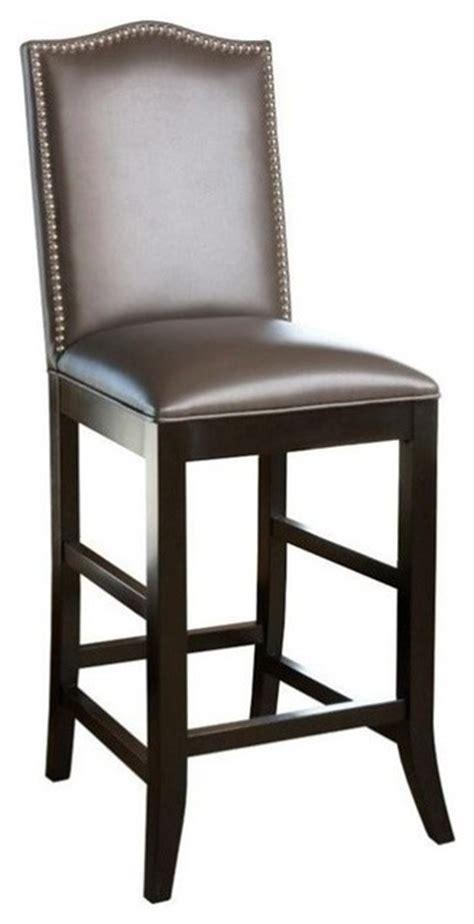 grey nailhead counter stool abbyson living royal 30 quot leather nailhead trim bar stool
