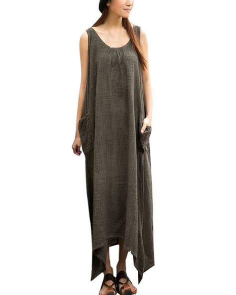 Linen Cotton Sleeveless Dress vintage casual sleeveless high low cotton linen maxi
