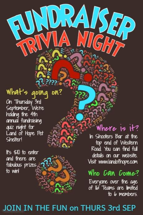 trivia poster template trivia quiz poster template postermywall