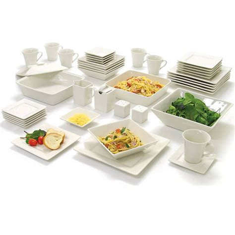 45 white dinnerware set square banquet plates dishes