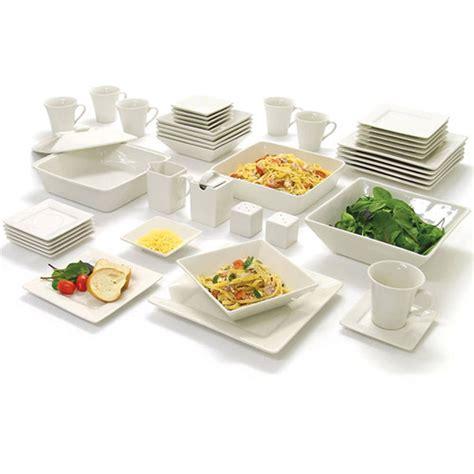 Kitchen Dishes Set 45 white dinnerware set square banquet plates dishes