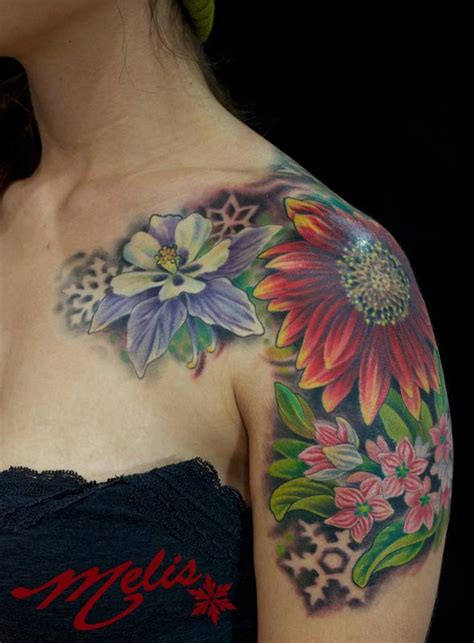 melissa tattoo flowers and negative snowflakes by fusco tattoonow