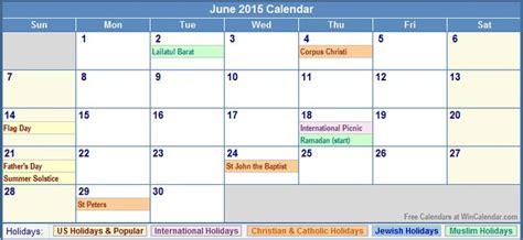 Calendar 2015 June With Holidays June 2015 Calendar With Holidays Calendar