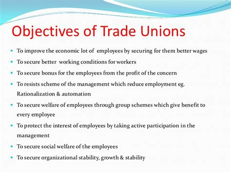 Objectives Of Trade Union Mba trade unions in india