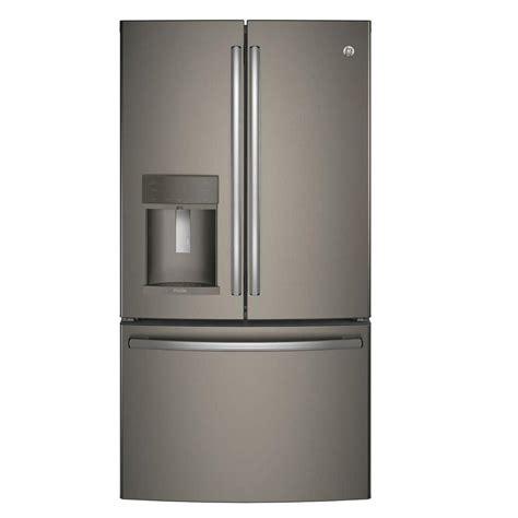 ge 27 8 cu ft french door refrigerator in slate ge profile 35 75 in w 27 8 cu ft french door