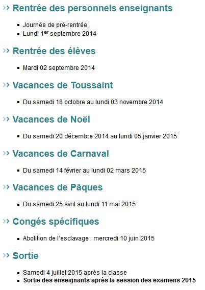 Calendrier Vacances Scolaires Guadeloupe Dates Des Vacances Scolaires 2014 2015 Pour Les Dom Tom