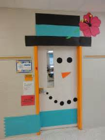 Winter Classroom Door Decorating Ideas - mr snowman for winter followed by lots of winter wonderland projects hanging around the