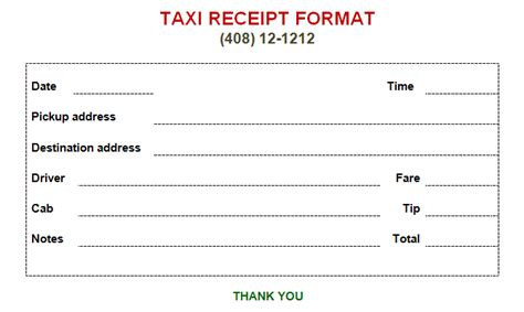 taxi receipt template printable taxi bill format in word excel templates