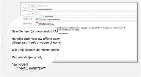 Voorbeeld Offerte Brief Als Begeleidend Schrijven voorbeeldtekst in e mail voor bij een offerte versturen