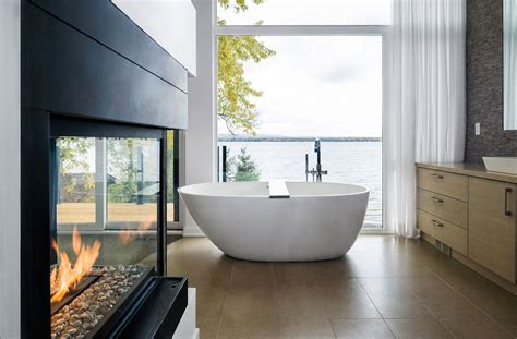 bathroom river views fireplace riverside home  ottawa