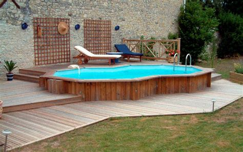 Backyard Swimming Pools Above Ground Above Ground Pool Deck Ideas From Wood For Relaxation Area At Home Homestylediary
