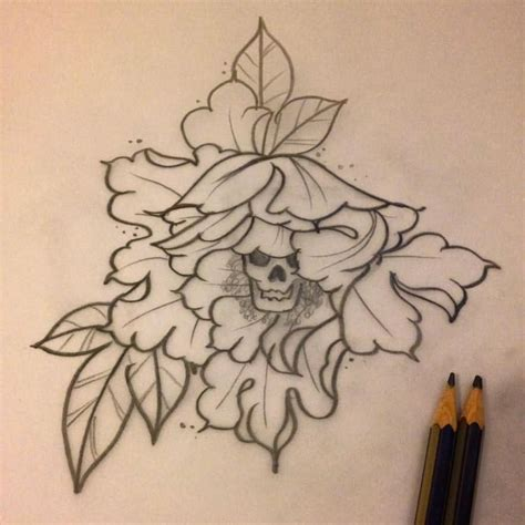 skull tattoo outline designs 33 amazing peony outline tattoos