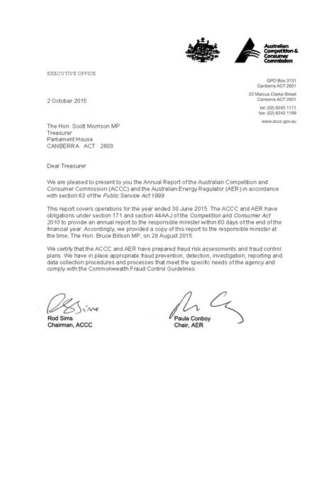 ACCC and AER annual report 2014-15 - Letter of transmittal