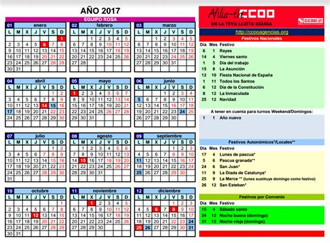 Barcelona Calendario 2017 Calendario 2017 En Vacaciones Edreams Ccoo Agencias