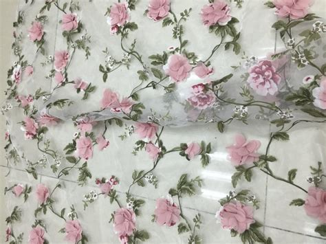 Kain Premium Organza Silk Original product premium embroidered organza fabric pattern flowers