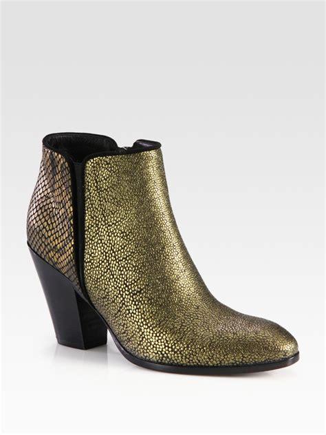Metallic Giuseppe Zanotti Boot by Giuseppe Zanotti Snakeembossed Metallic Leather And Suede