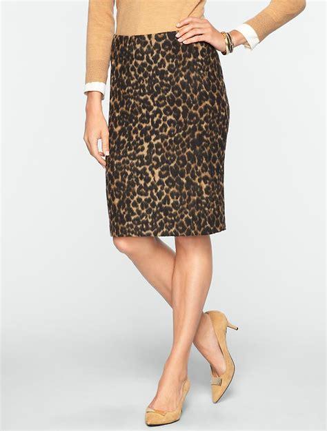 talbots brushed animal jacquard pencil skirt