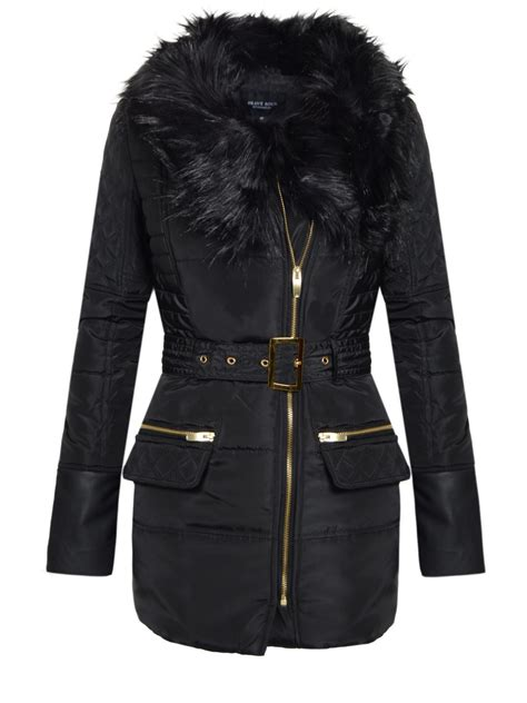 Womens Quilted Winter Coats by New Padded Quilted Belted Jacket Fur Collar Winter
