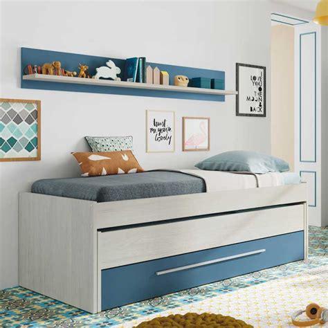 cama nido juvenil  camas   cajon en color blanco  azul