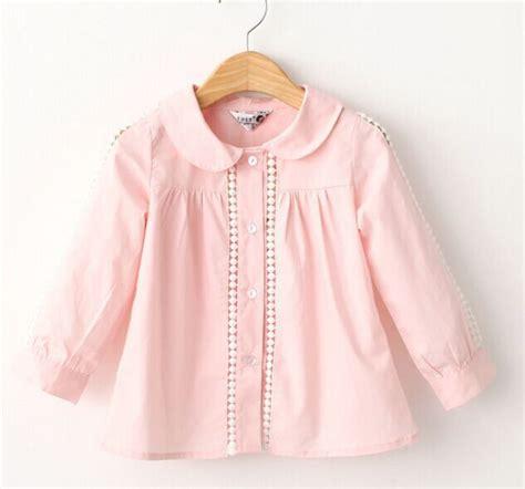 Blouse Gil white pink blouse 100 cotton lace school blouse for shirts autumn