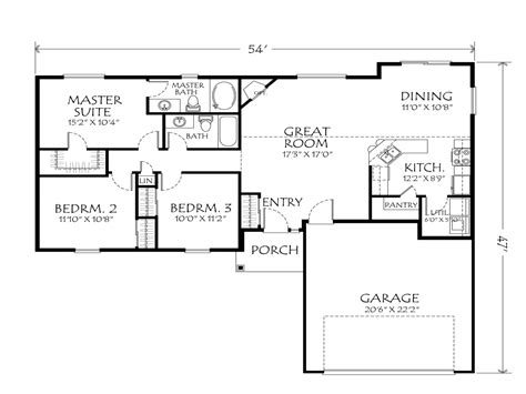 open floor plan blueprints best one story floor plans single story open floor plans