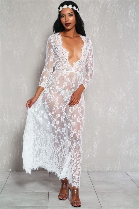 sheer patterned white dresses sexy white sheer floral embroider lace long sleeve casual