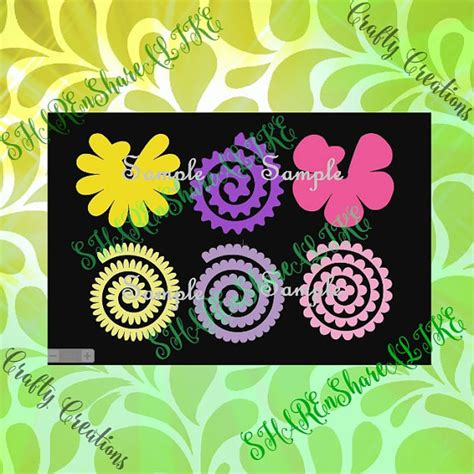 rolled paper flower pattern roses svg flower daisy rolled mom monogram circle box