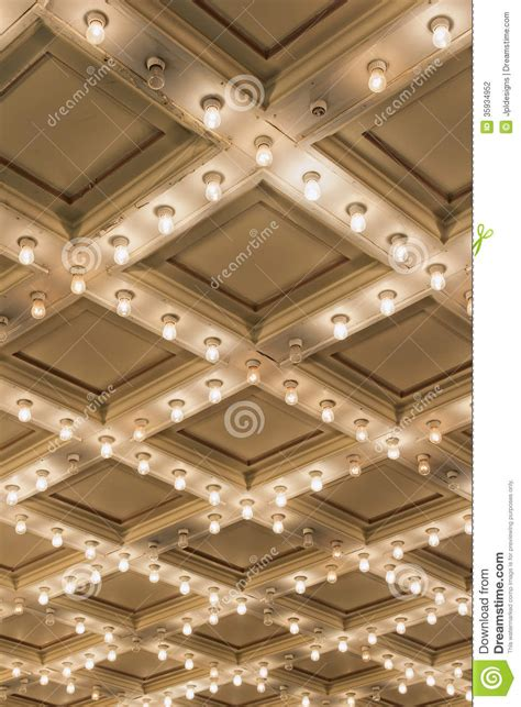 theater marquee ceiling lights vertical stock