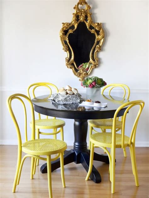 yellow dining room ideen pedestal tables their chic chair counterparts